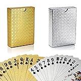 YAASO Spielkarten Multipack Poker Karten wasserdichte Plastikfolie Kartenset Zaubertricks Werkzeug 2 Decks Gold Silber für Männer Frauen Party Game Show