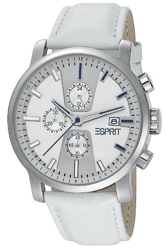 Esprit Men's Quartz Watch Atrium Chrono White ES104191003 with Leather Strap