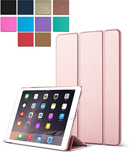 DuraSafe Cases Tri-Fold Translucent Ultra Slim Smart Auto Sleep/Wake Function Case for iPad Air 2-9.7-inch A1566 & A1567 - Rose Gold