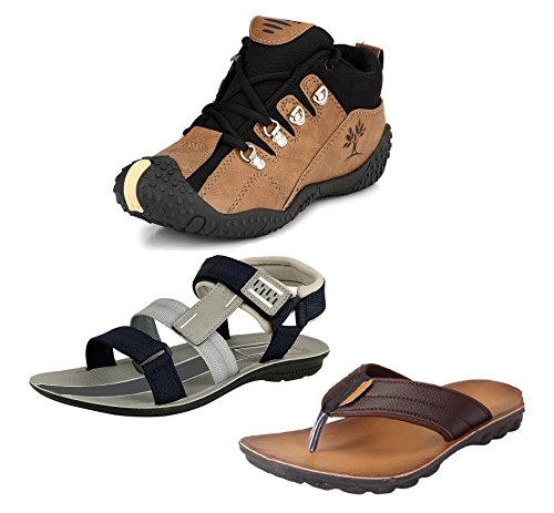 Tempo Men's Combo Pack of 2 Footwear (Outdoor Shoes, Slippers & Floaters Sandals)