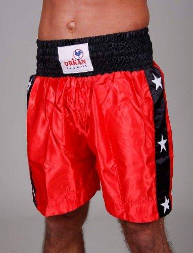Tempesta Sports Thai Box Hose Short Muay Thai Shorts raso Kickboxing Rosso/Nero, Unisex, XL