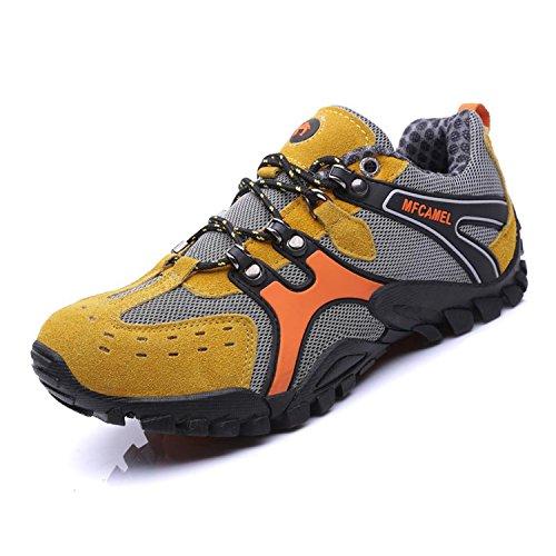 SAGUARO Zapatillas de Trail Hombre Zapatos para Correr Montaña Asfalto Aire Libre Deportes Running Atléticas Respirable Low Sneakers, Amarillo 44
