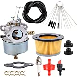 Dxent Carburetor with Air Filter Carb Cleaning Brushes Tool Fuel Line Kit for Tecumseh Snowblower 632230 632272 H30 H50 H60 HH60 HH70 Engines 4 Cycle Engine Troy Bilt Tillers Toro John Deere