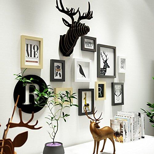 HJKY Photo Frame Wall Set Die Nordischen foto Wohnwand Wohnzimmer Wand Dekoration kreative Bilderrahmen eine Wand minimalistischen modernen Foto Schwarz und Weiß original Kombination aus Wand ,0101