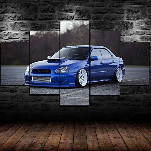 GIRDSS Kunstdrucke Moderne Druck Malerei Hintergrund Dekoration Modulare 5 Stücke Leinwanddrucke Subaru Impreza WRX Sti Tuning Poster Wandkunst Leinwand Creative Geschenk Kunstwerk 150X80Cm