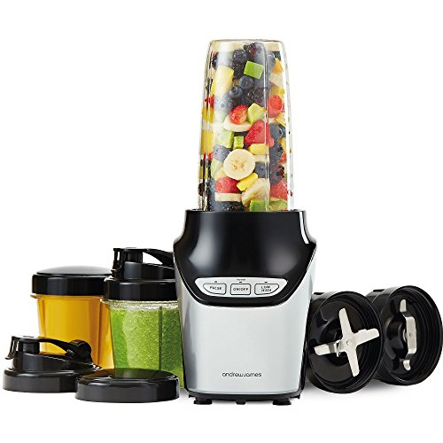 Andrew James Nutri-Fit Smoothie Maker | Juicer and Food Processor Fitness Blender Machine | 3 Speed Settings with Stainless Steel Blades | 1000W