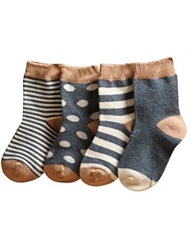 FEOYA- Super Weich Babysöckchen Hochwertig Baumwolle Babysocken Süß Kids Socke Kinder 4 Paar Socken Set mit verschiedenen Mustern - Grau - S