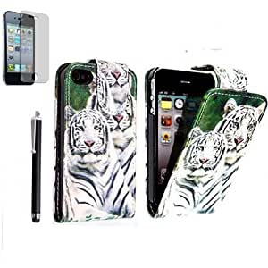 FOR APPLE IPHONE 4 4S VARIOUS PU LEATHER MAGNETIC FLIP CASE COVER POUCH + FREE STYLUS (Snow Tiger Face)