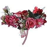 AWAYTR Blumen Stirnband Hochzeit Haarkranz Krone - Frauen Mädchen Blumenkranz Haare für Hochzeit Party(Rose Rot + Dunkelrot)