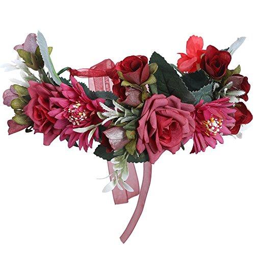 AWAYTR Blumen Stirnband Hochzeit Haarkranz Blume Krone (Rose Rot + Dunkelrot)