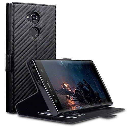 Terrapin, Kompatibel mit Sony Xperia XA2 Ultra Hülle, Leder Tasche Case Hülle im Bookstyle mit Standfunktion Kartenfächer - Schwarz Karbonfaser Dessin EINWEG