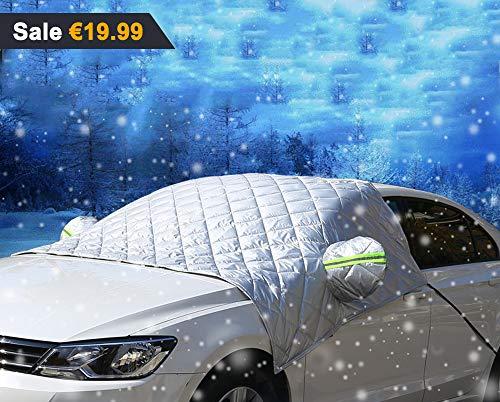 iisport Windschutzscheibenabdeckung, Premium Frontscheibe Schnee Frost Sonnenschutz Abdeckung Eisschutzfolie für Winter+Sommer, Extra Groß 260cm x 150cm passt für die meisten Auto