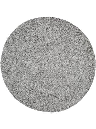 benuta Hochflorteppich Swirls Shaggy Langflor Grau ø 80 cm rund Kunstfaser schadstofffrei (Grau Und Rosa Runder Teppich)