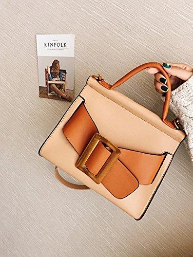Rrock Fashion Handtasche Personalisierte Gürtel Dekoration Stereotypen Umhängetasche,Brown