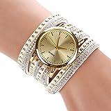 Sommer Luxusfreizeit Dame Quarz Armbanduhr Uhr Goldarmband (White)