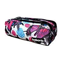 Triple Pencil Case Boys Girls School Cosmetic Make-Up Bag (202511 Butterfly)