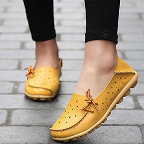 Vogstyle Donna Nuova Scarpe Stringate Basse Casual Comfort Pantofole Mocassini Giallo