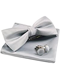 Solid Pre-tied Bow Tie Cufflinks Hanky Set for Men Neck Wear, Silver