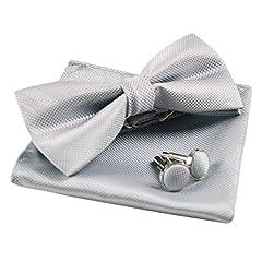 Idea Regalo - Enjoymore?šC?Set di Papillon e fazzoletto da tasca per uomo argento Taglia unica