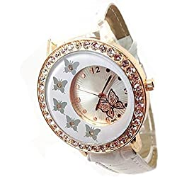 Fashion Women Butterfly Pattern Crystal Bracelet PU Leather Band Quartz Wrist Watch