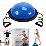 Homgrace Balance Trainer Balance Ball Yoga Half Ball Gymnastikball Ø59,5 cm Balanceboard mit Bands und Luftpumpe für Kraft, Koordination und Gleichgewicht Training