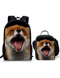 6853a657a806 Nopersonality Backpack for Junior Boys Girls School Book Bag Cute Fox  Animal Print
