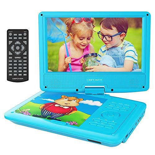 Dbpower 9.5'' lettore dvd portatile, 4 ore batteria ricaricabile, display inclinabile, massimo support con schede sd, pennette usb e riproduzione diretta di avi/rmvb/mp3/jpeg (blu)