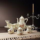 Panbado, Porzellan Kaffeeservice 12 tlg. Set, Cremefarbe, mit Löffel, Kaffeekanne, Kaffeetassen, Milchkännchen, Zuckerdose und Servierplatte, Weihnachtsgeschenk