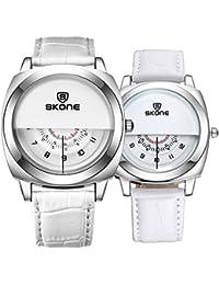 37350ba2bc80 Astarsport - Reloj de Pulsera para Pareja con Reloj de Piel para Hombres y  Mujeres