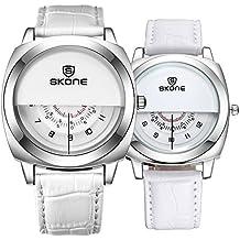 Astarsport - Reloj de Pulsera para Pareja con Reloj de Piel para Hombres y Mujeres,