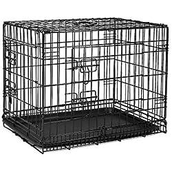 Dibea dc00490, Jaula de Transporte para Perros y Animales pequeños, Estable Caja de Alambre Negrita, Plegable