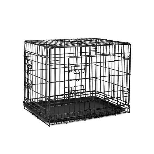 dibea DC00491, jaula de transporte para perros y animales pequeños, caja robusta hecha de alambre fuerte, plegable / con bisagras, 2 puertas, con bandeja inferior, tamaño M.