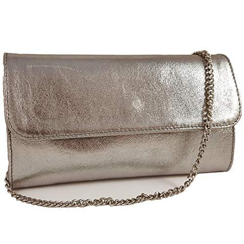 Freyday Echtleder Damen Clutch Tasche Abendtasche Muster Metallic 25x15cm (Platin Metallic) -