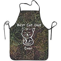 XINXI Home Regalos Divertidos del Gato El Mejor Gato papá Nunca Cocina del BBQ Que Cocina el Delantal