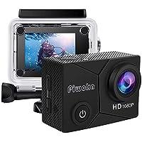 Piwoka Action Cam, Full HD 1080P 12MP Unterwasserkamera wasserdichte 30M Helmkamera 140 °Weitwinkelobjektiv für Beginner…