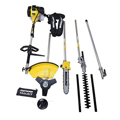 Craftworx 5in1 Multifunktionsgerät 3-Zahn-Messeraufsatz, Trimmerspule, Heckenschere und Verlängerung