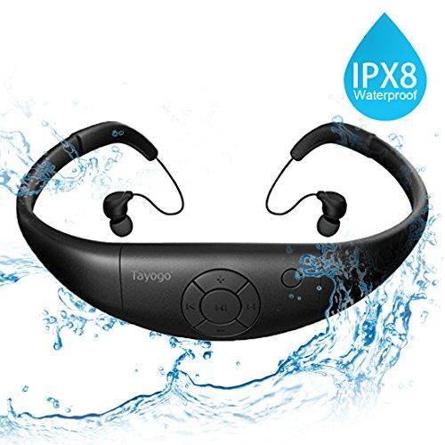 Tayogo MP3-Player, wasserdicht, mit Kopfhörern, 8 GB IPX8 Hi 3 m unter Wasser schwimmen Wasserdicht 60 ℃ ideal zum Laufen, Reiten und andere Spa mit Wasser oder Sweat (Schwarz)