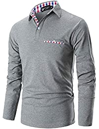 STTLZMC Mode Polo Homme Manche Longue Golf Poloshirt Casual Col Contrasté Tops
