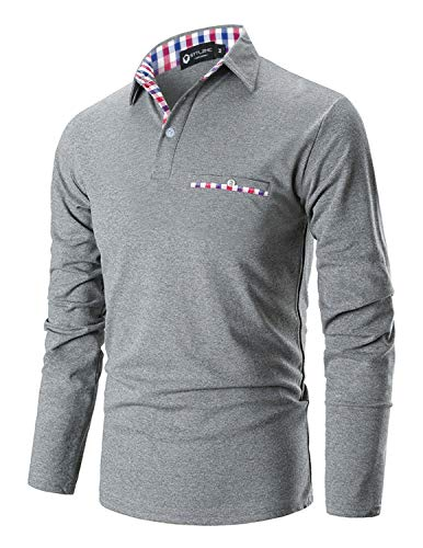 STTLZMC Poloshirt Herren Langarm Basic T-Shirt Freizeit Plaid spleißen Polohemd,Grau,XXL