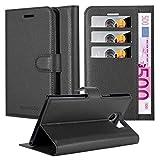 Cadorabo Hülle für BlackBerry PRIV - Hülle in Phantom SCHWARZ - Handyhülle mit Kartenfach & Standfunktion - Case Cover Schutzhülle Etui Tasche Book Klapp Style