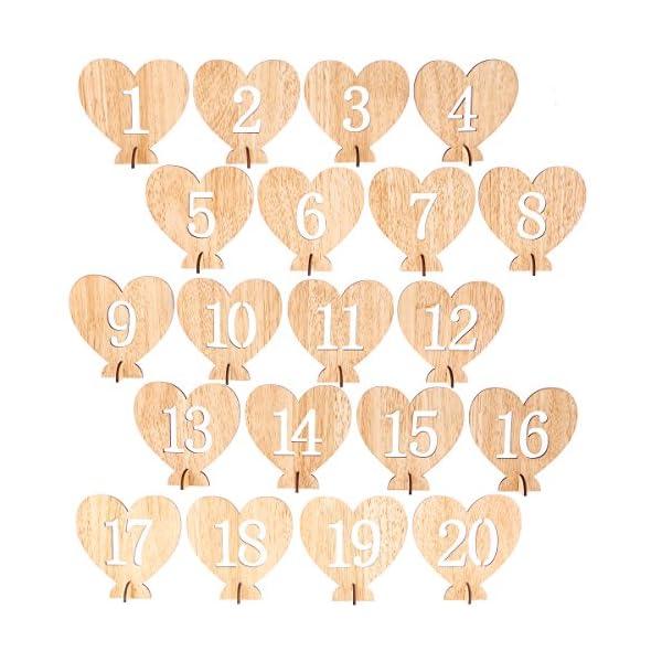 BESTOYARD Números de Madera para Mesas Decoración Bodas Corazón de Madera 1-20