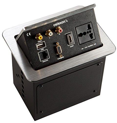 celexon Expert Tischanschlussfeld TA-200S_INT, Ordnung auf und unter dem Konferenztisch, Internationale Steckdosenvariante