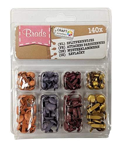 Lot de 140 Mini Attaches parisiennes Craft équipement lumineux Pastel & Couleurs métalliques 4 assortis Metallic Colours
