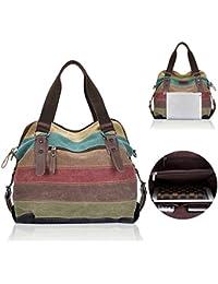 Bolsa para hombros o bolso de mano de lona para mujer con rayas, bolso con una mezcla de colores, minibandolera