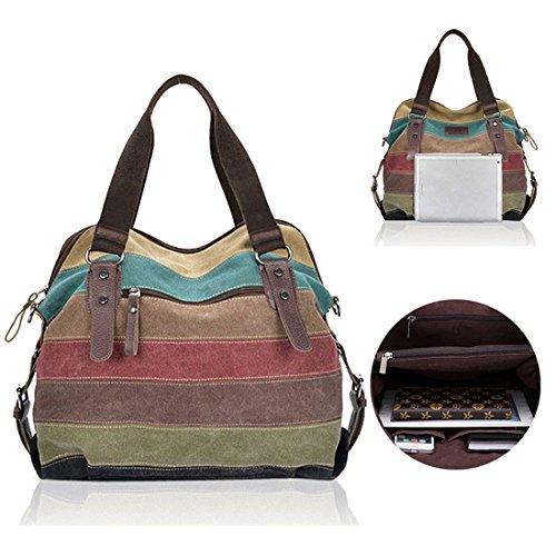 Frauen Stripe Canvas Schultertasche Handtaschen Mix Farbe Tasche Crossbody Taschen (Canvas Stripe)