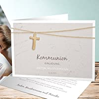 Einladungskarten Kommunion Online Gestalten, Holzkreuz 5 Karten,  Horizontale Klappkarte 148x105 Inkl. Weiße Umschläge