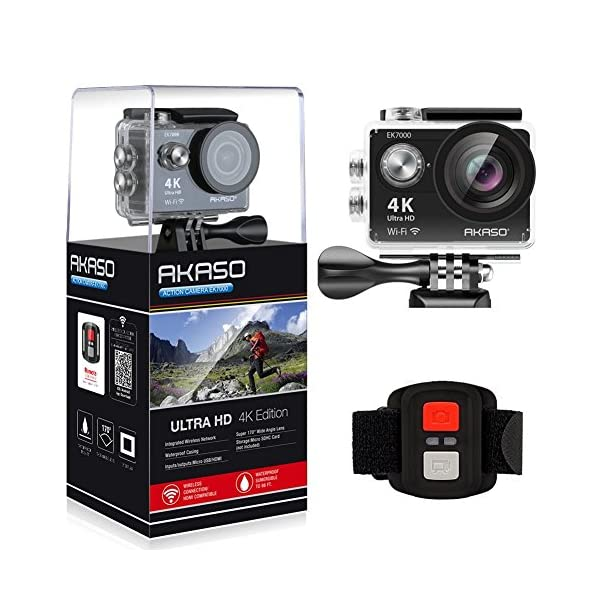 AKASO EK7000 4K Sport Action Camera Ultra HD Camcorder 12MP WiFi Waterproof Camera 170 Degree Wide View Angle 2 Inch LCD Screen W/2.4G Remote Control/2 Rechargeable Batteries/19 Accessories Kits (Black) 51TEgeZIesL