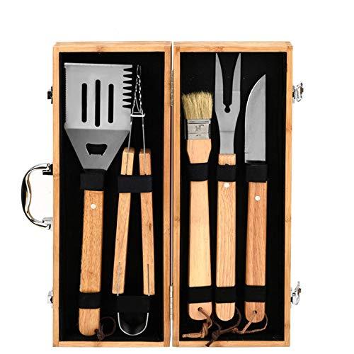 CICIN Hochleistungs-BBQ-Grill-Werkzeug-Set mit Holzgriff, Barbecue-Grill-Utensilien-Kit Outdoor-Grill-Set mit Holzkiste