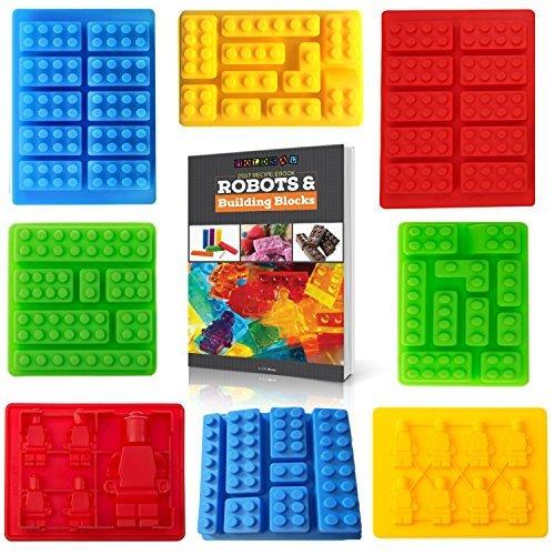 Amerikas Best Buys 8er Silikon Candy Formen und Eis Form für LEGO Liebhaber mit Rezept eBook