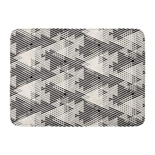 Fußmatten Bad Teppiche Outdoor / Indoor Fußmatte geometrische Linien und überlappende Dreiecke in schwarz weiß gestreift moderne mutige 1980er Jahre für Sommer Herbst Badezimmer Dekor Teppich Badematt